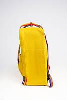 Рюкзак  Fjallraven Kanken Classic Rainbow 16л  Топ качество  желтый с радужными ручками ( тканевая подкладка), фото 3