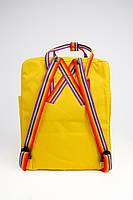 Рюкзак  Fjallraven Kanken Classic Rainbow 16л  Топ качество  желтый с радужными ручками ( тканевая подкладка), фото 5