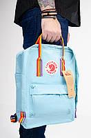 Рюкзак  Fjallraven Kanken Classic Rainbow 16л  Топ качество  голубой с радужными ручками( тканевая подкладка), фото 4
