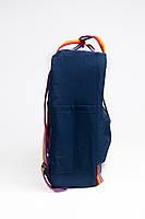 Рюкзак  Fjallraven Kanken Classic Rainbow 16л  Топ качество  синий с радужными ручками( тканевая подкладка), фото 2