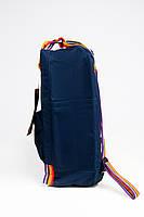 Рюкзак  Fjallraven Kanken Classic Rainbow 16л  Топ качество  синий с радужными ручками( тканевая подкладка), фото 3