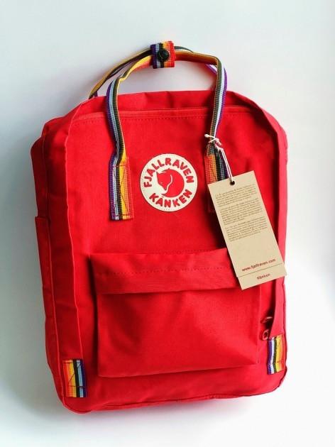Рюкзак  Fjallraven Kanken Classic Rainbow 16л  Топ качество  красный с радужными ручками( тканевая подкладка)