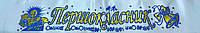 Атласная лента для первоклассника (белая синий кант)