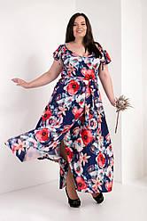 Жіноча сукня довгий квітковий принт розмір 50-52