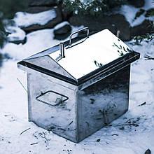 Домашня Коптильня з нержавіючої сталі 3.0 мм з гідрозатворів Кришка будиночком + Подарунки