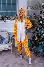 Теплая пижама Кигуруми  Жираф  Для взрослых и детей Желтого цвета