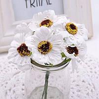 Дикий мак Ø45мм, цветы для рукоделия (букетик 6шт) высота 9см Цвет - Белый