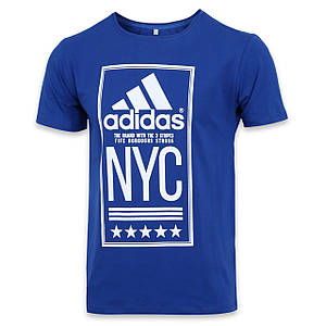 "Футболка спортивная электрик ADIDAS с принтом ""NYC""  SAX L(Р) 19-900-020"