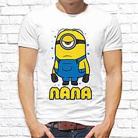 """Качественная мужская футболка с принтом для всей семьи """"Миньоны"""", push it Украина"""