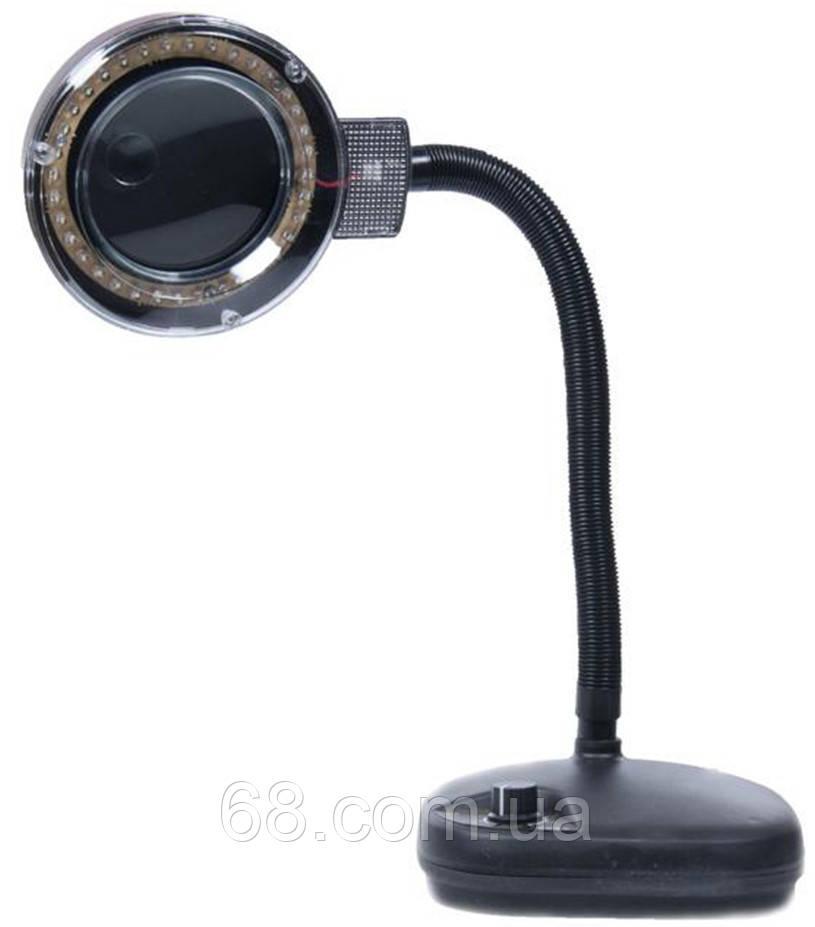 Настольная лампа с лупой увеличительным стеклом 5х+20х ЛЭД LED светодиодная для маникюра