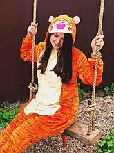 Теплая пижама Кигуруми  Тигр   Для взрослых и детей Оранжевого цвета ткань Велсофт