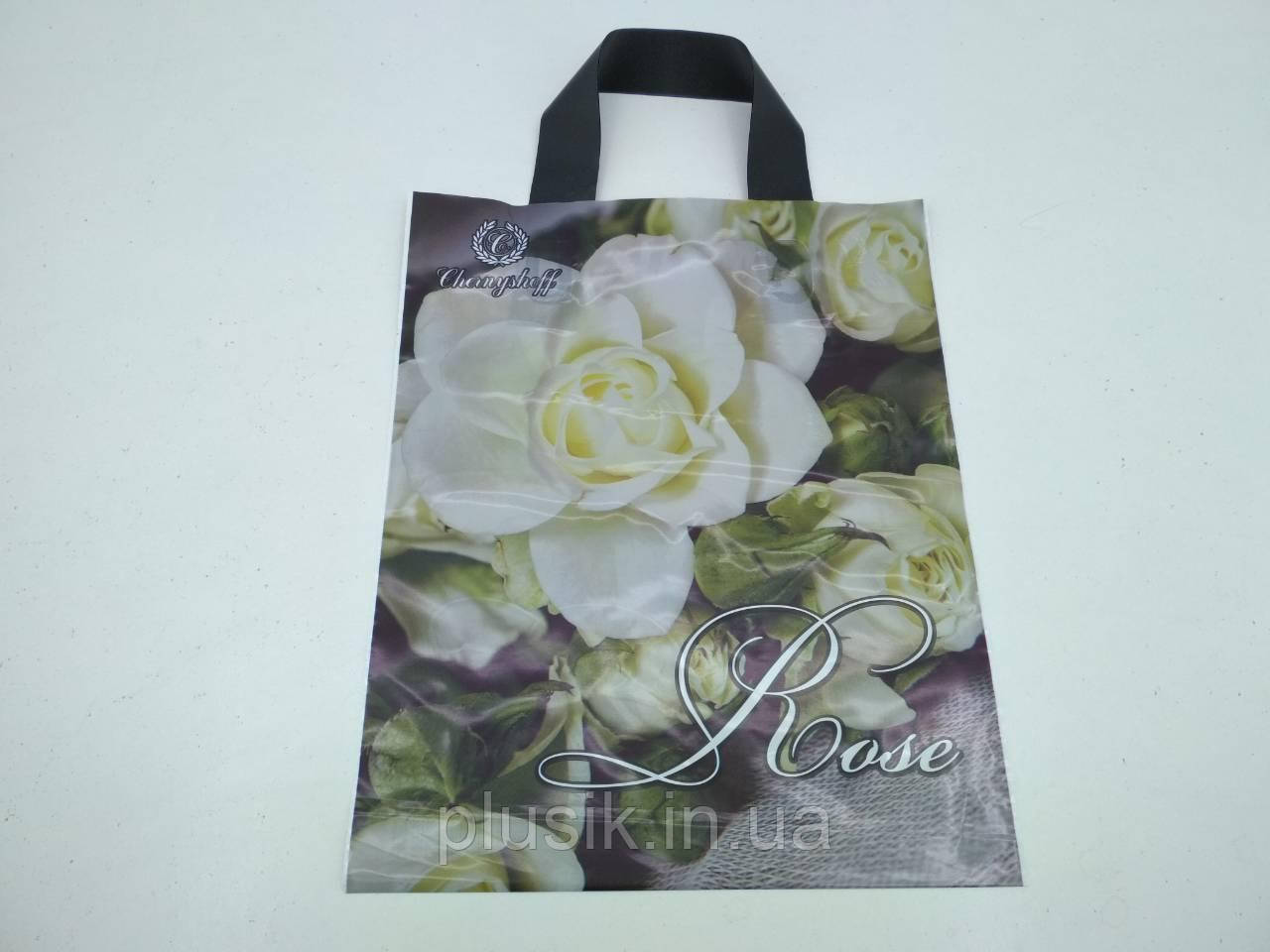 """Пакет ламінований з петлевою ручкою маленький """"Білі троянди""""(25х30) Рендпако (25 шт)"""