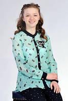 Стильна шифонова підліткова блуза прямого силуету з коміром стійкою