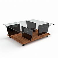 Журнальный столик на колесиках стекло + ДСП модель Американка
