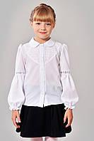 Чарівна дитяча блузка для школи стилі Кармен зі вставками мережива