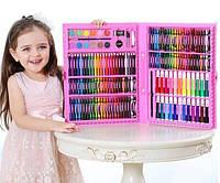 Детский художественный наборы для творчества и рисования Art set на 150 предметов в чемоданчике розовый