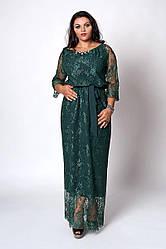 Жіноча сукня довгий пляшкового кольору розмір 50,52