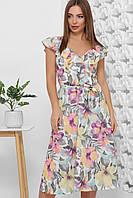 Нежное летнее легкое расклешенное платье с принтом (1857mrs)