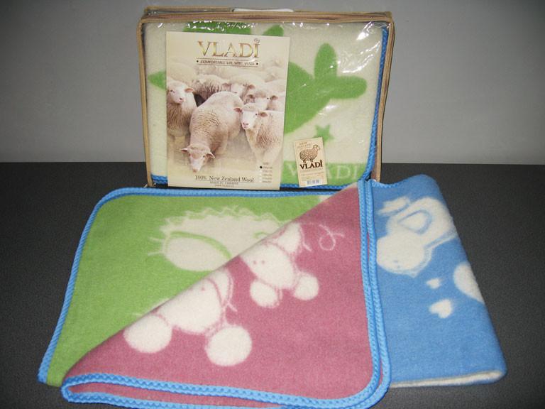Одеяло жаккардовое детское 110х140см шерстяное (розовое, голубое) ТМ Vladi, 2260