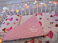 Постельное белье в кроватку , постільна білизна в ліжечко , постіль в рожево-білих тонах 1681