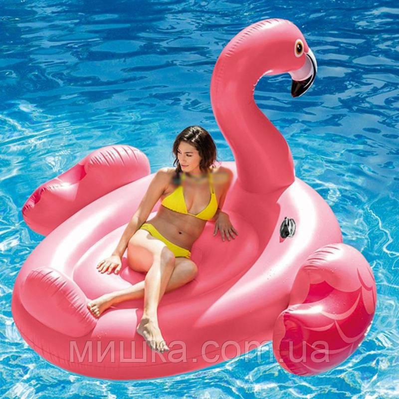 Надувной розовый плот для катания Intex 57288 «Фламинго», 203*196*124 см, 2 ручки