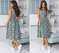 Летнее котоновое платье миди с цветочками 42-46 р-ры в расцветках 4214 зеленый, 44