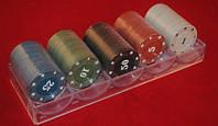 Набор фишек для игры в покер с номиналом/ без номинала 100 фишек, фото 1