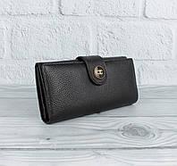 Кошелек женский кожаный 3801 черный на кнопке, расцветки, фото 1
