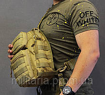 Військовий однолямочный рюкзак на 9 л, рюкзак на одне плече, військовий рюкзак через плече Койот (ta9-coyote), фото 3