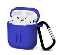 Чехол Silicone Case 2в1 (+ карабин) к наушникам Apple AirPods Navy Blue (Темно-синий). Качество.