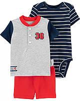 Детский хлопковый комплектик из 3-х вещей Бейсбол Картерс для мальчика