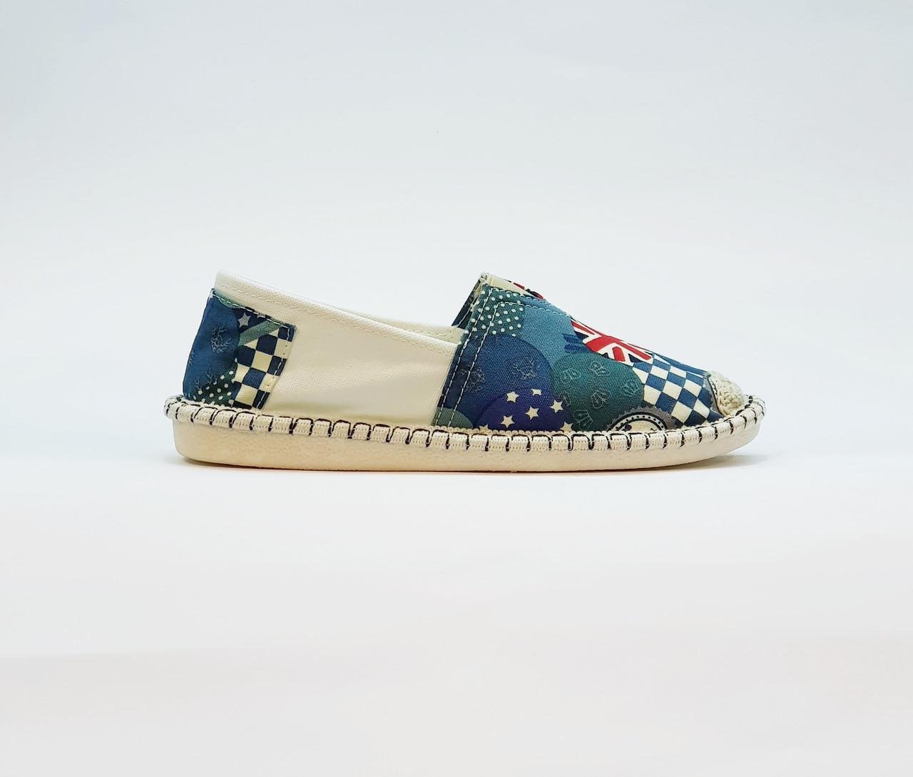 Еспадрільї жіночі літні на маленькій платформі текстильні сині