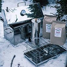 Велика Домашня Коптильня з димогенератором для холодного і гарячого копчення з нержавійки + Термометр