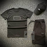 Шорты футболка и кепка Lacoste черного цвета 3 в 1 (Мужской летний спортивный костюм Лакост) размеры 44-52 XL