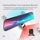 Зеркало с видеорегистратором Anytek A9 Экран 12 дюймов 2K + 1080P, две камеры, фото 3