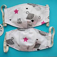 *Маска детская текстильная защитная многоразовая 5 слоев ( 2 слоя ткани и 3 слоя марли ).
