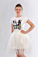 Воздушная детская юбка расклешенного силуэта из фатина на подкладке
