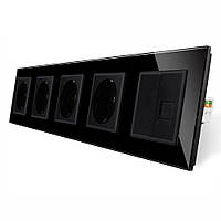 Розетка пятиместная комбинированная Силовая Интернет Livolo черный стекло (VL-C7C4EUK01C-12)