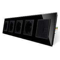 Розетка п'ятимісний комбінована Силова Інтернет Livolo чорний скло (VL-C7C4EUK01C-12)