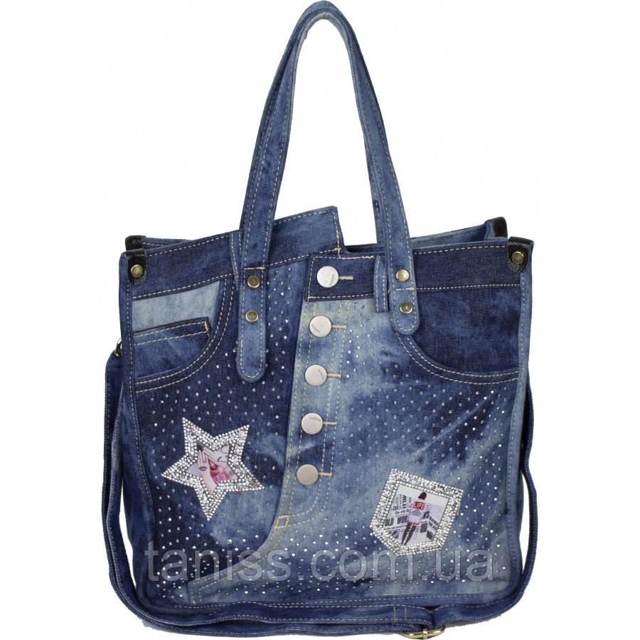 Женская мягкая джинсовая сумка, внутри одно отделение , две ручки (6039 ) синяя