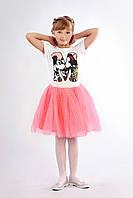 Воздушная детская юбка расклешенного силуэта из фатина на подкладке розовый