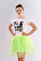 Воздушная детская юбка расклешенного силуэта из фатина на подкладке салатовый