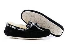 Мокасины женские UGG (Оригинал) Dakota Slipper черные с лентой