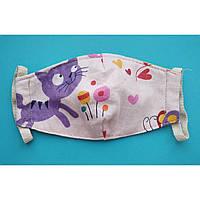 *Распродажа! Маска детская текстильная защитная многоразовая 5 слоев ( 2 слоя ткани и 3 слоя марли ).