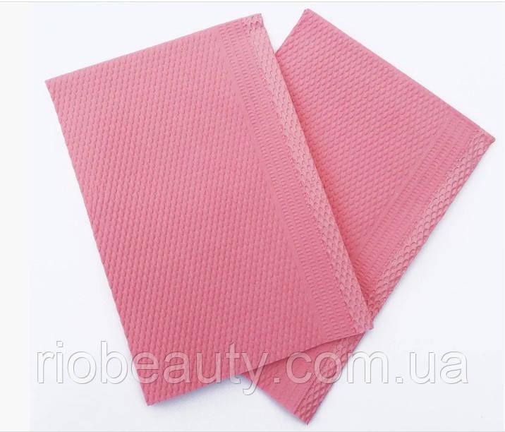 Водонепроникні серветки,нагрудники стоматологічні рожеві 25 шт