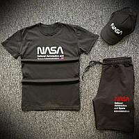 Шорты футболка и кепка Nasa черного цвета (Летний мужской спортивный костюм 90% хлопок 3 в 1)