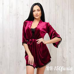 Халат бархатный женский New Fashion BR-150fuxia