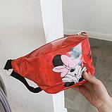 """Женская детская голографическая блестящая бананка """"Микки Маус """" красная, фото 2"""