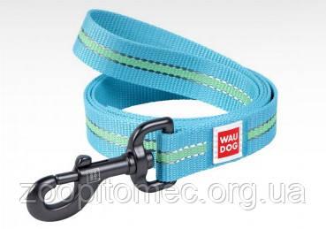 Поводок для собак Waudog Nylon ВауДог Нейлон светонакопительный голубой, 15 мм, 122 см