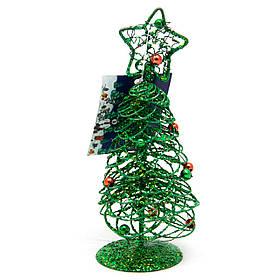Настольная елка, 15 см, зеленый, проволока (000586-2)